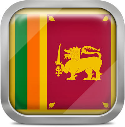Sri Lanka square flag with metallic frame