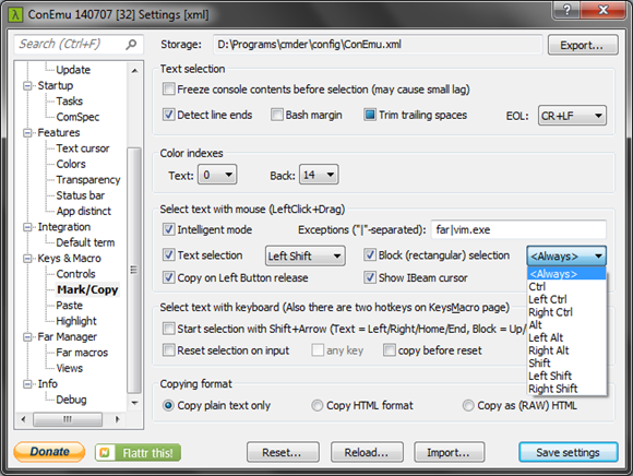 Twig's Tech Tips: ConEmu / Cmder : How to select text by