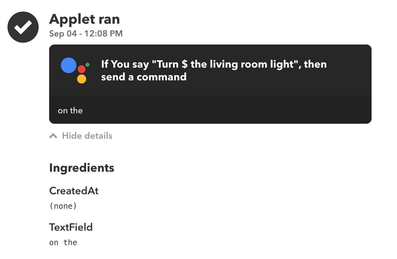 Google Assistant recognizes wrong text ingredient in IFTTT