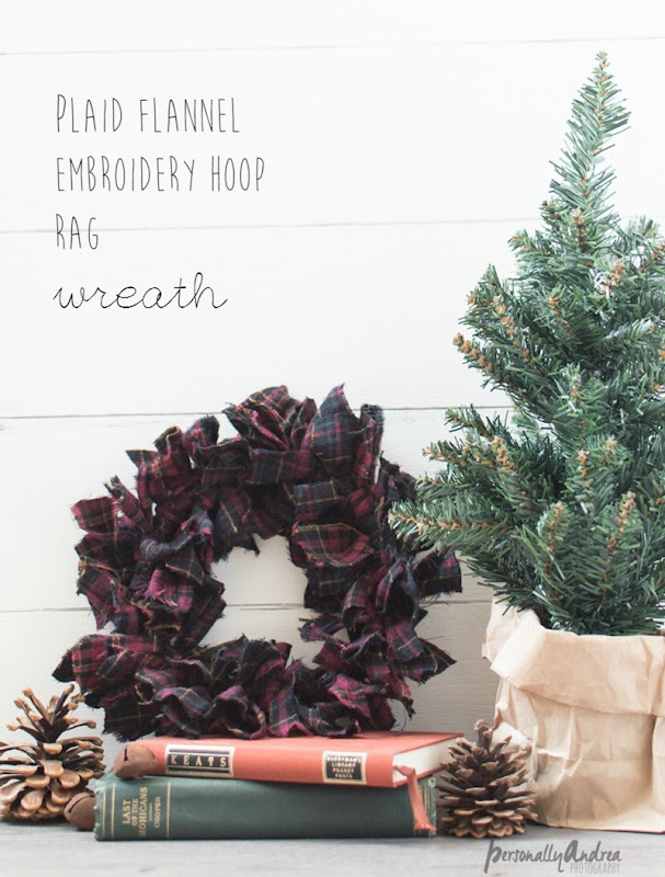 Plaid Flannel Wreath on Emboidery Hoop Frame for Winter