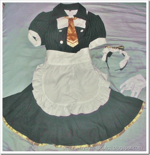 The old costume before the makeover.  It was bought from Bodyline in a lucky pack.  It is supposed to be a maid cafe outfit from the anime series Love Live.