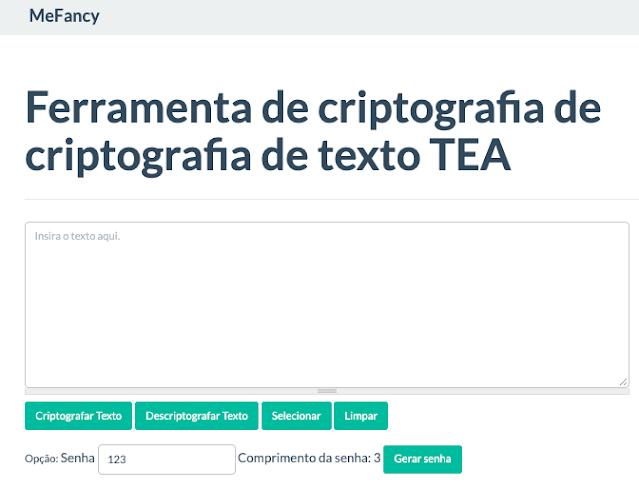 Ferramenta de Criptografia e descriptografia de texto TEA
