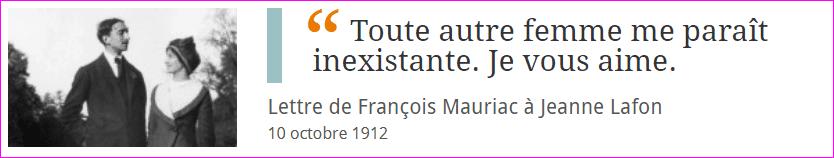 Lettre de François Mauriac à Jeanne Lafon