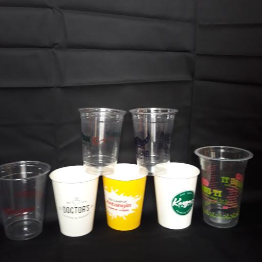 Sablon logo gelas cup plastik 22 OZ Includ Tutup Dome