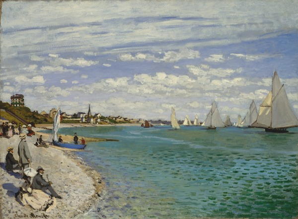 Working Title/Artist: Monet: Regatta at Sainte-AdresseDepartment: European PaintingsCulture/Period/Location: HB/TOA Date Code: Working Date:  photography by mma, Digital File DT1401.tif retouched by film and media (jnc) 12_7_10
