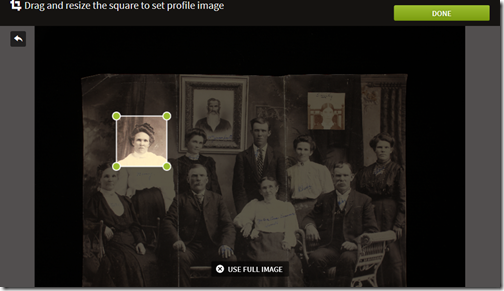 Ancestry Member Tree portraits can be cropped and adjusted for sizel