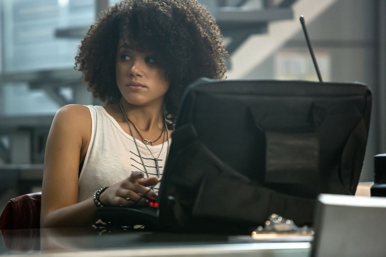 Nathalie Emmanuel in THE FATE OF THE FURIOUS. (Photo by Matt Kennedy / courtesy of Universal Pictures).