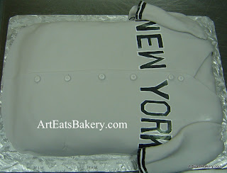 New York Yankees baseball jersey custom unique men's fondant birthday cake design idea