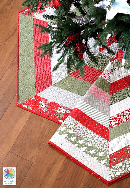 Holly Jolly quilted tree skirt pattern - in three sizes and has Jelly Roll instructions - Jelly Roll Tree Skirt pattern