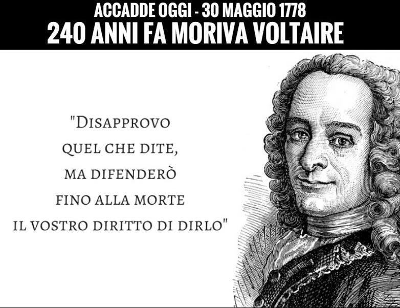 #AccaddeOggi - 30 Maggio 1778 240 anni fa moriva Voltaire