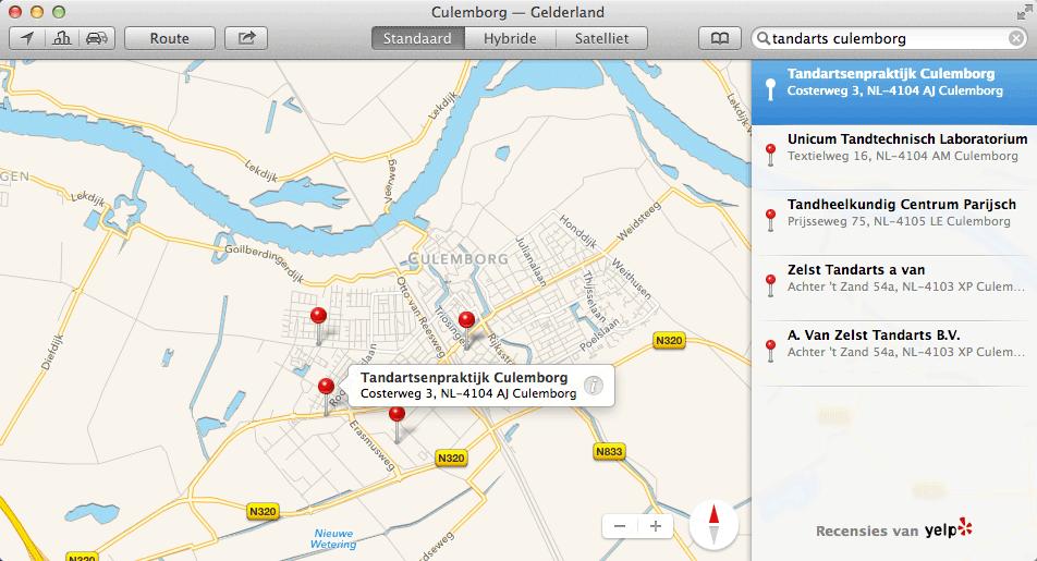 Apple Kaarten voorbeeld Tandarts Culemborg
