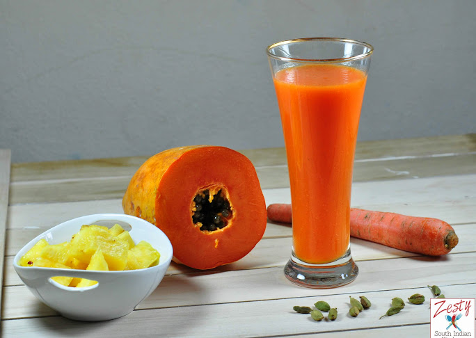 Papaya Pineapple Carrot Juice With Touch Of Cardamom Super Energy
