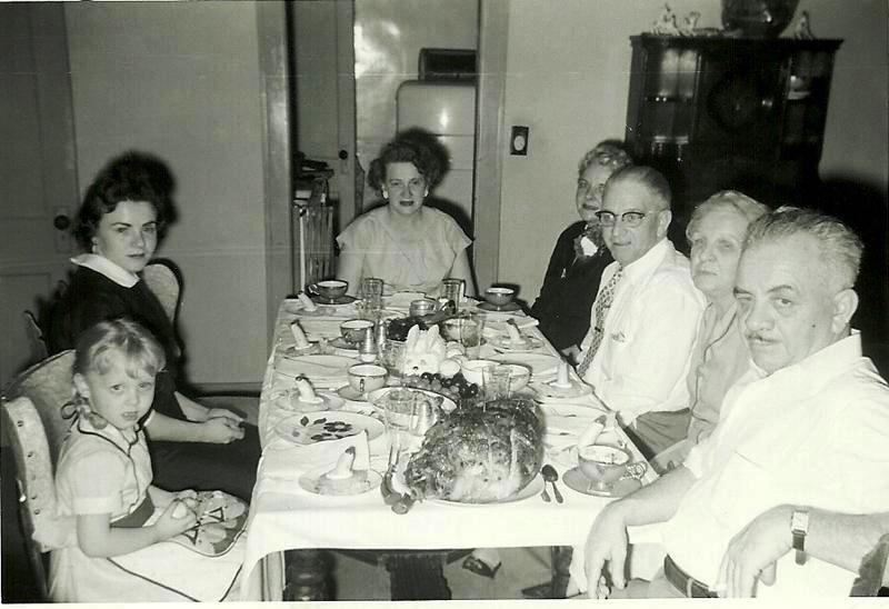 [HOCKSTER_Easter+dinner_Paula_Betty_Mary_Alice_Bill_Nana_Everett_circa+1950s%5B4%5D]