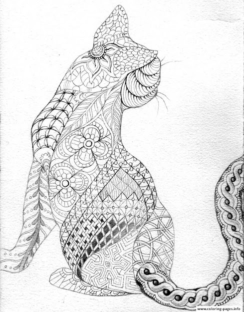 Adult Difficult Cat From Back Printable Coloring Pages Book