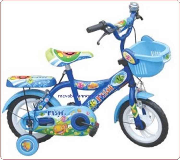 Xe đạp trẻ em Nhựa Chợ Lớn 14 inch màu xanh.
