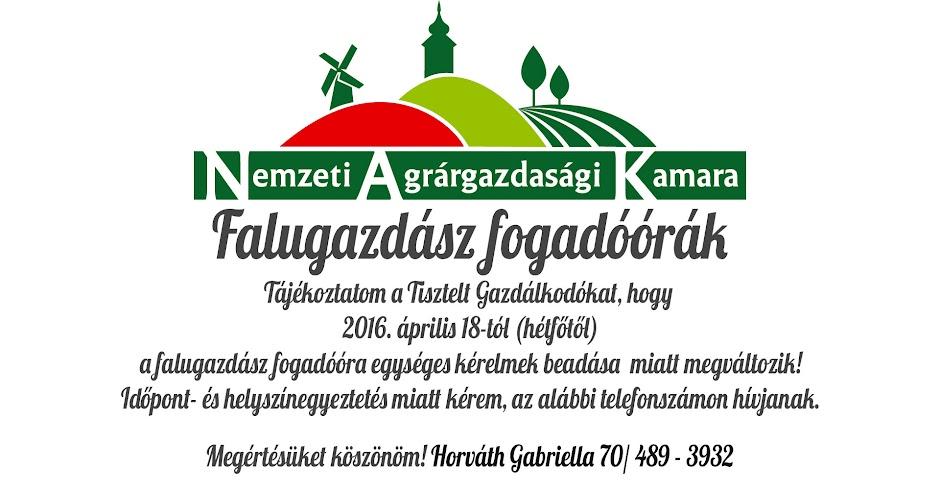 Tájékoztatom a Tisztelt Gazdálkodókat, hogy 2016. április 18-tól (hétfőtől) a falugazdász fogadóóra egységes kérelmek beadása miatt megváltozik!