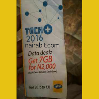 MTN 2016 Data Deal TechPlus 7GB for N2000