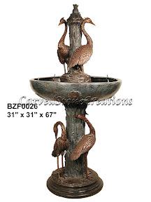 Bronze, Cranes, Fountain, Statue
