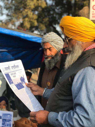 Protesting farmers launch bilingual paper 'Trolley Times'