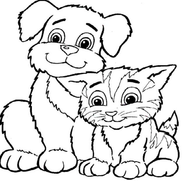 Dog And Cat Coloring Pages Printable