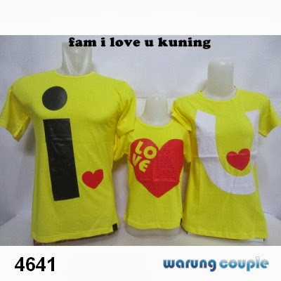 Kaos Couple Family Murah I Love U Kuning