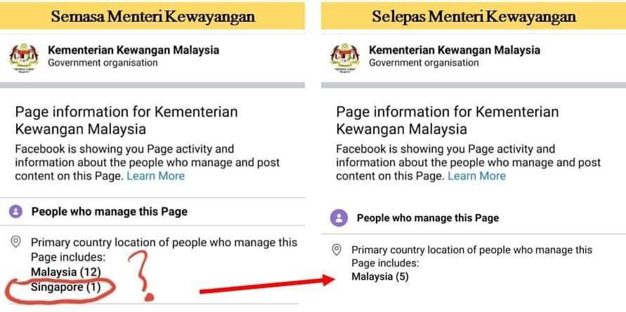 Memang betul Laman Facebook @MOFmalaysia dikawal selia dari Singapura