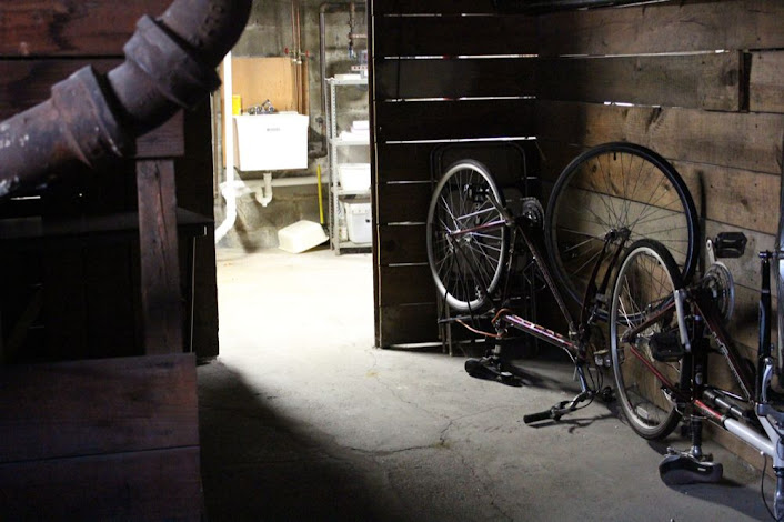 upside-down bikes and overhead pipes