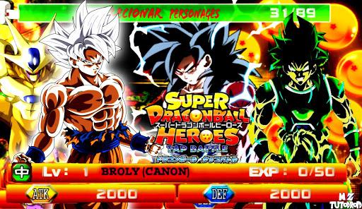 LANÇOU !! NOVO DRAGON BALL SUPER /HEROES (MOD) DBZ TAP BATTLE COM  89 PERSONAGENS PARA ANDROID