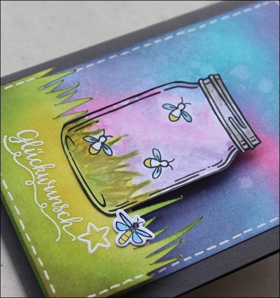 LED Karte Glühwürmchen Distress Ink Stampin Up Glasklare Grüße 00