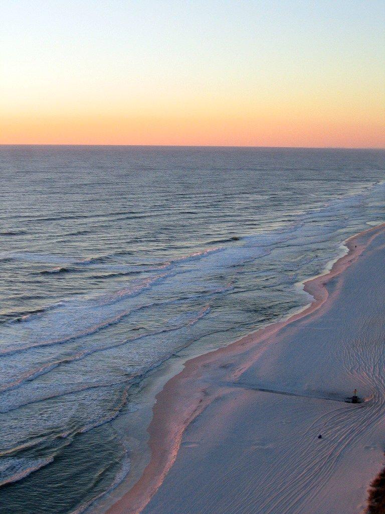 Beach sunset from balcony