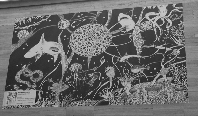 Black and white street art piece of the oceans