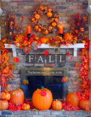 pumpkins, fall mantel, fall