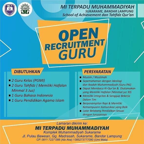 Lowongan Kerja Guru Mi Terpadu Muhammadiyah Sukarame Bandar Lampung Karir Bandar Lampung