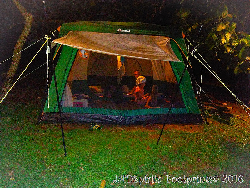 Preparing to go to sleep inside the glamping tent at Caliraya Mountain Lake Resort