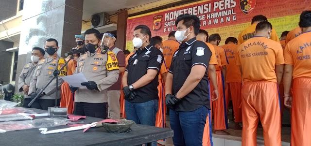 Operasi Libas Lodaya, Polres Karawang Berhasil Ungkap 10 Kasus Kejahatan Dan Premanisme.