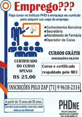 Aproveita! Faça cursos no Instituto PHD e enriqueça seu currículo; Vagas disponíveis para a segunda edição do curso em Piritiba-BA dias 21 e 22 de outubro