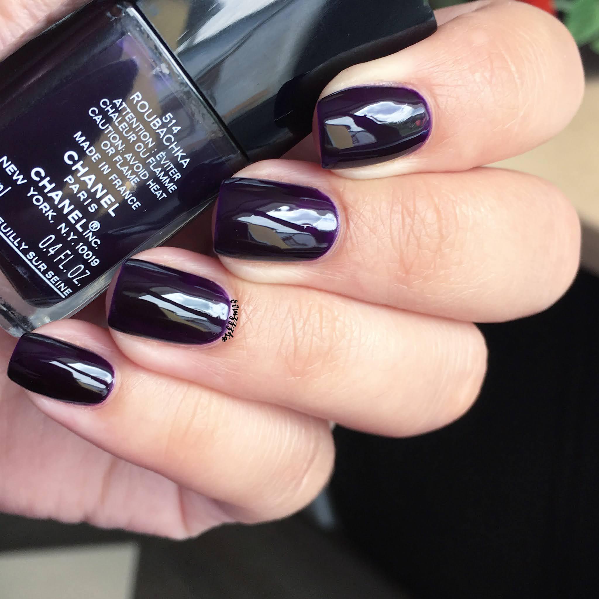 Chanel 514 Roubachka Nail Swatch Autumn Purple Manicure Review
