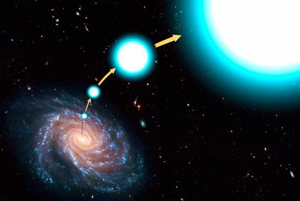 ilustração de uma estrela hiperveloz escapando da Via Láctea