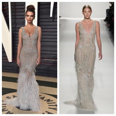 Emily Ratajkowski at Oscars in Johnathan Simkhai Diamond Tulle Fringe Gown