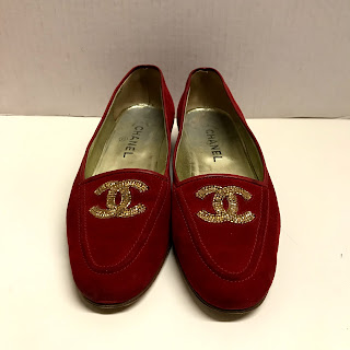 Chanel Red Suede Loafers