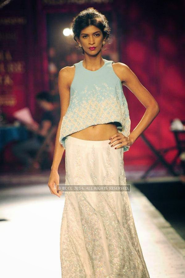 Lekha walks the ramp for Monisha Jaisingh on Day 3 of India Couture Week, 2014, held at Taj Palace hotel, New Delhi.