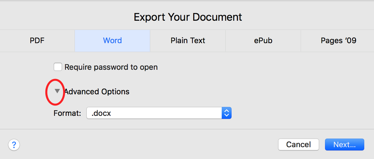 Figure 12 5 export options for Pages