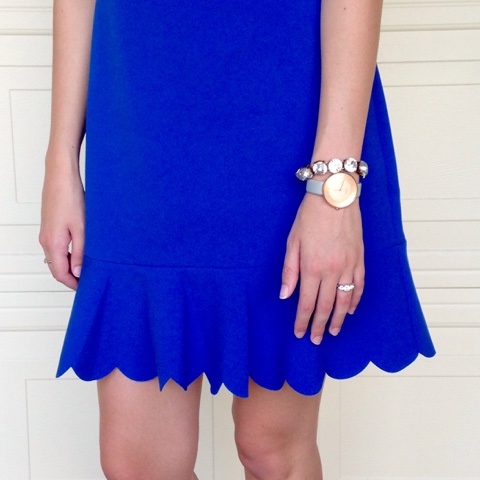 rose gold skagen watch j.crew scallop dress royal blue