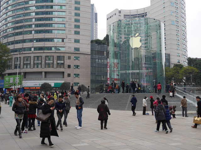 Entrance to Jiefangbei Apple Store in Chongqing on opening day