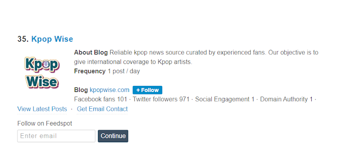 KpopWise is the 35th Top Kpop Blog! [Updated May 2021]