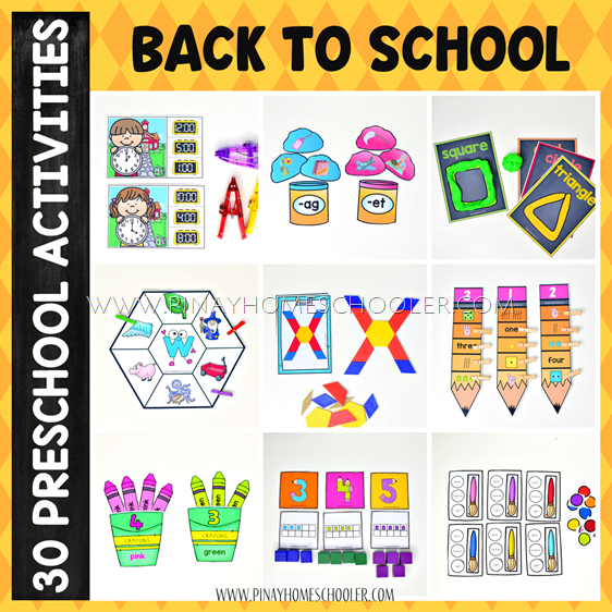 Back to School Preschool and Kindergarten Learning Materials