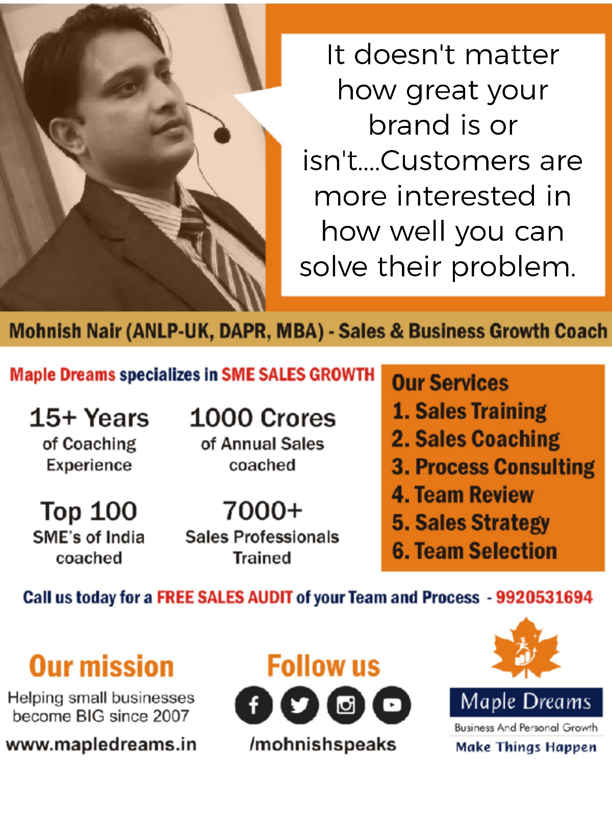 Call us for a free sales audit of your team and process – 9920531694www.youtube.com/mohnishspeaks #sales #mohnishspeaks #coaching #team #training #audit #marketing #smallbusiness #success #salestraining #salesmanagement #hiring #salesenablement