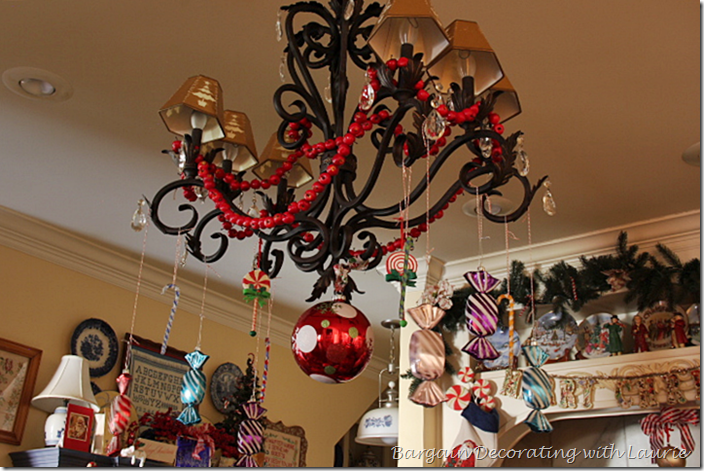 Faux candy on kitchen chandelier for Christmas