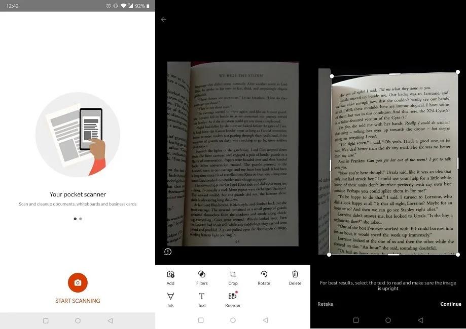 تطبيقات الماسح الضوئي للوثائق Android Office Lens