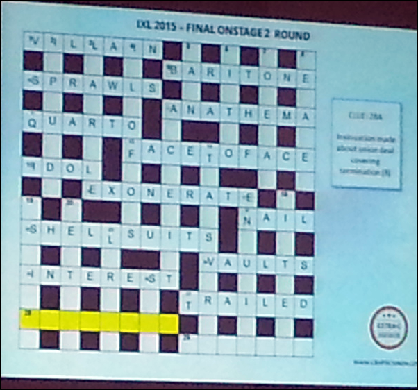 IXL 2015 Final Onstage 2 Round - Crossword Grid
